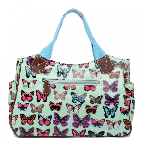 L1105B - Miss Lulu Oilcloth Tote Bag Butterfly Green