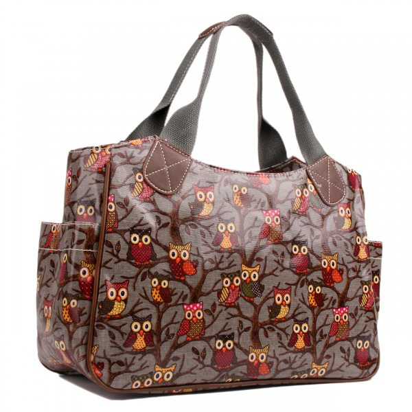 L1105W - Miss Lulu Oilcloth Tote Bag Owl Grey