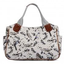 L1105-16J - Miss Lulu Oilcloth Tote Bag Bird Print Grey
