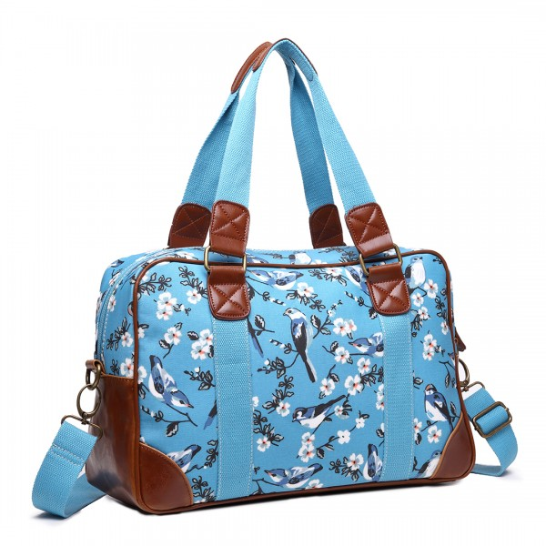 L1106-16J BE - Miss Lulu Oilcloth Coated CanvasTravel Bag Bird Blue