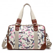 L1106 16J BG - Oilcloth Lulu desanimantes Coated Canvas Bag Bird Travel Beige