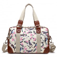 L1106-16J BG - Miss Lulu Oilcloth Coated Canvas Travel Bag Bird Beige