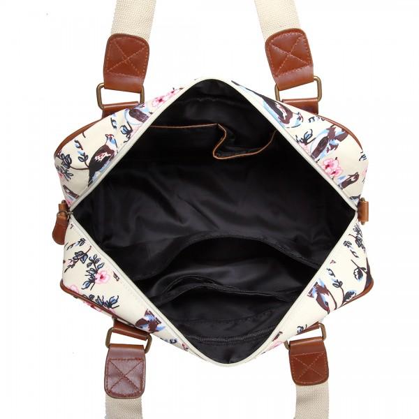 L1106-16J BG - Miss Lulu Oilcloth Coated Canvas Travel Bag Bird Beige