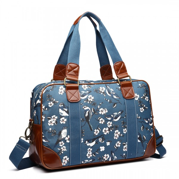 L1106-16J BE - Miss Lulu Oilcloth Coated Canvas Travel Bag Birds Dark Blue