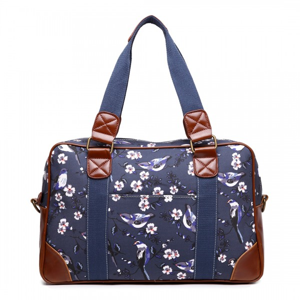 L1106-16J NY - Miss Lulu Oilcloth Coated Canvas Travel Bag Bird Navy