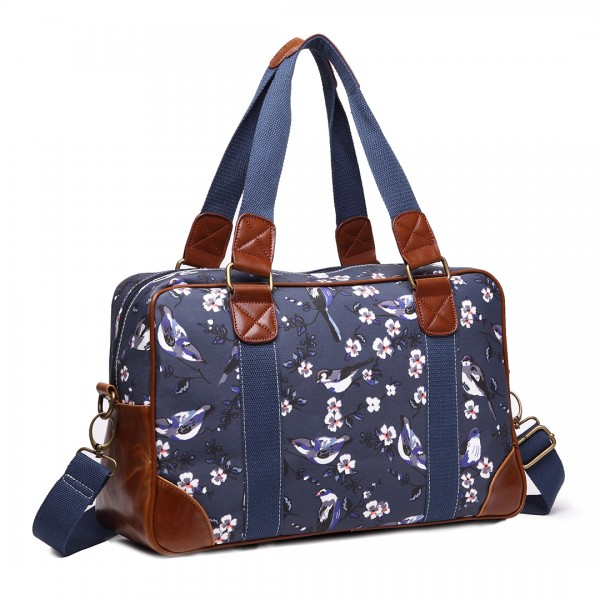 L1106-16J NY - Miss Lulu Oilcloth Coated Canvas Travel Bag Bird Navy