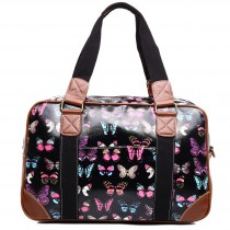 L1106B - Miss Lulu Oilcloth Travel Bag Butterfly Black
