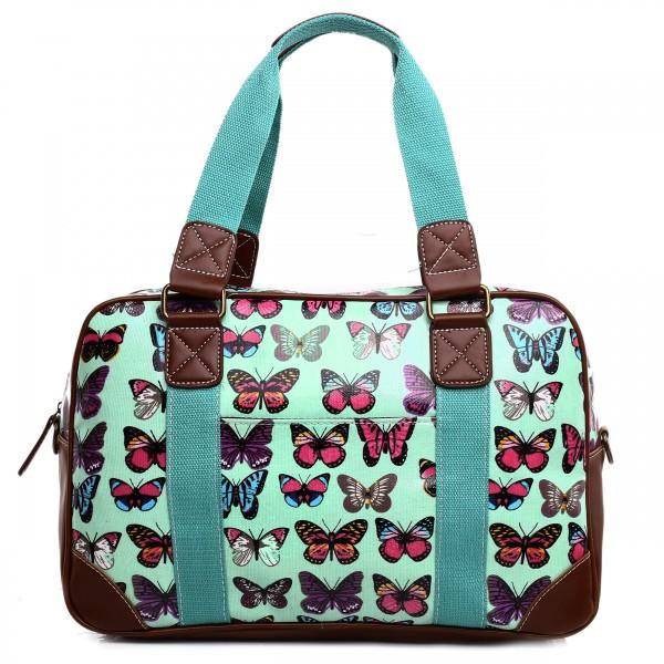 L1106B - Miss Lulu Oilcloth Travel Bag Butterfly Green