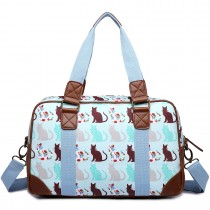 L1106CT - Miss Lulu Oilcloth Travel Bag Cat Blue