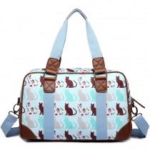 L1106CT - Miss Lulu Oilcloth Travel Bag Cat Blue