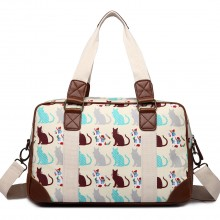 L1106CT - Miss Lulu Oilcloth Travel Bag Cat Beige