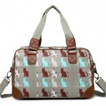 L1106CT - Miss Lulu Oilcloth Travel Bag Cat Grey