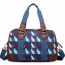 L1106CT - Miss Lulu Oilcloth Travel Bag Cat Navy