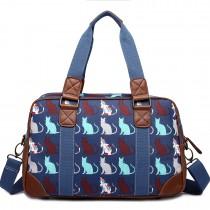 L1106CT - Miss Lulu Oilcloth Travel Bag Cat Navy