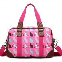 L1106CT - Miss Lulu Oilcloth Travel Bag Cat Pink