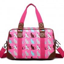 L1106CT - Miss Lulu Oilcloth Travel Bag Cat Pink