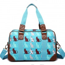 L1106CT - Miss Lulu Oilcloth Travel Bag Cat BlueTeal