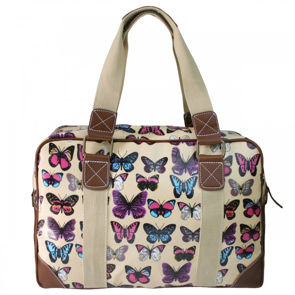 L1106B - Miss Lulu Oilcloth Travel Bag Butterfly Beige