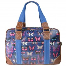 L1106B - Miss Lulu Oilcloth Travel Bag Butterfly Navy