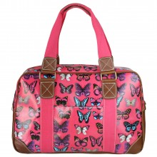 L1106B - Miss Lulu Oilcloth Travel Bag Butterfly Plum