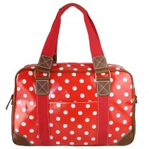 L1106D2 - Miss Lulu Oilcloth Travel Bag Polka Dot Red