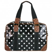 L1106D2 - Miss Lulu Oilcloth Travel Bag Polka Dot Black