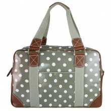 L1106D2 - Miss Lulu Oilcloth Travel Bag Polka Dot Grey