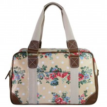 L1106F - Miss Lulu Oilcloth Travel Bag Floral Dot Beige