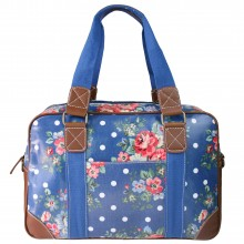 L1106F - Miss Lulu Oilcloth Travel Bag Floral Dot Navy