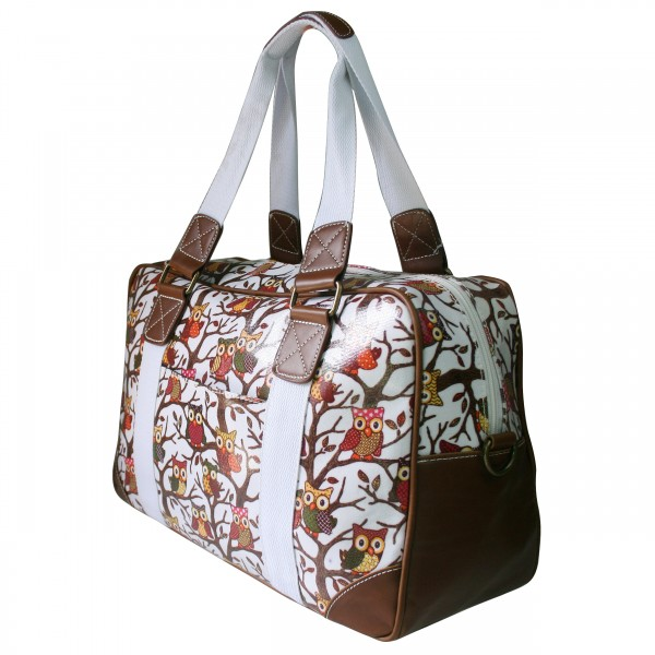L1106W - Miss Lulu Oilcloth Travel Bag Owl White