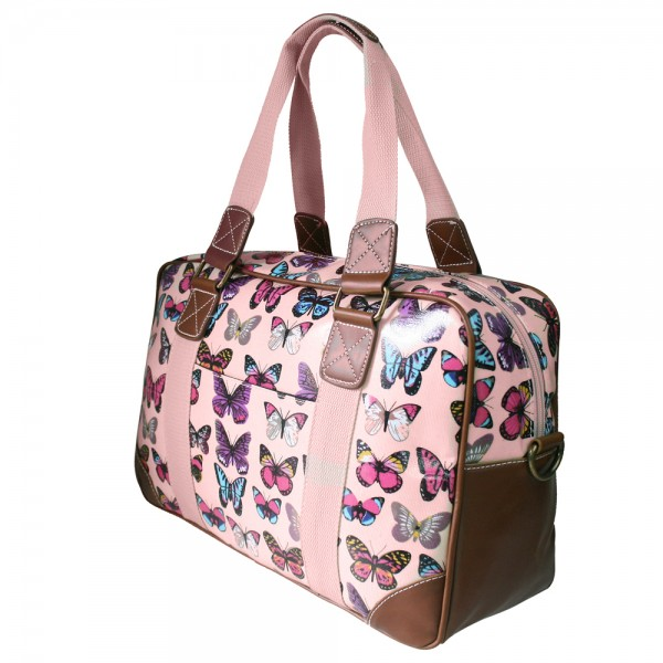 L1106B - Miss Lulu Oilcloth Travel Bag Butterfly Light Pink