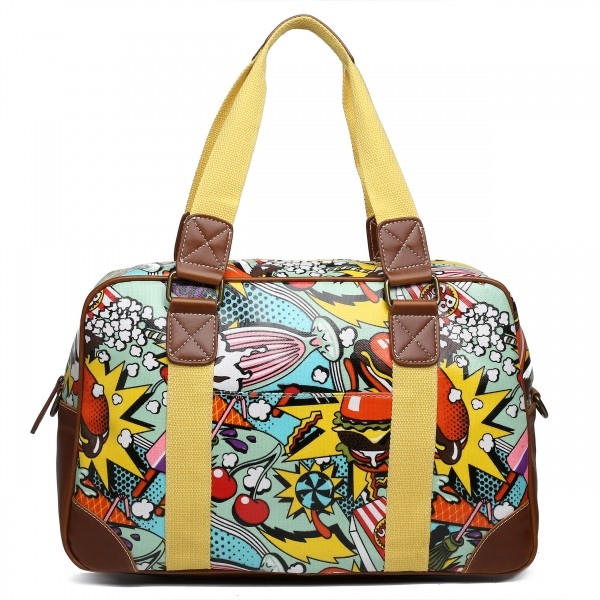 L1106CN - Miss Lulu Oilcloth Travel Bag Cartoon Food Yellow