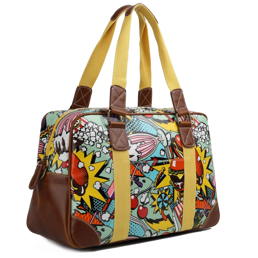 Affordable tote bags for school - Startseite 187 L1106cn Miss Lulu Oilcloth Travel Bag Cartoon Food