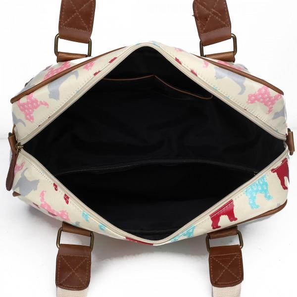 L1106NDG - Miss Lulu Oilcloth Travel Bag Dog Beige