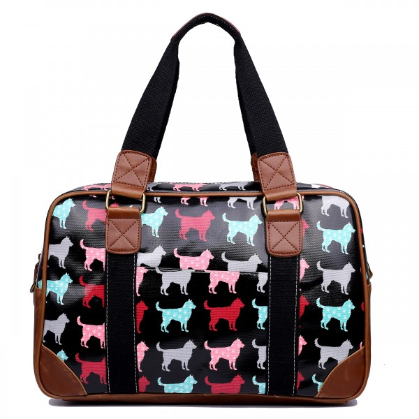 L1106NDG - Miss Lulu Oilcloth Travel Bag Dog Black