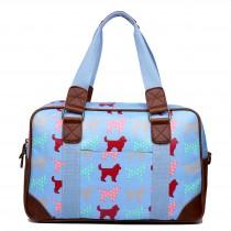 L1106NDG - Miss Lulu Oilcloth Travel Bag Dog Blue