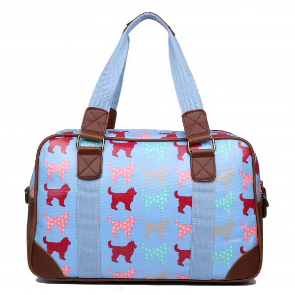 L1106NDG - Miss Lulu Oilcloth Travel Bag Dog Blue