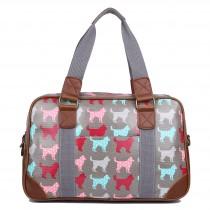 L1106NDG - Miss Lulu Oilcloth Travel Bag Dog Grey