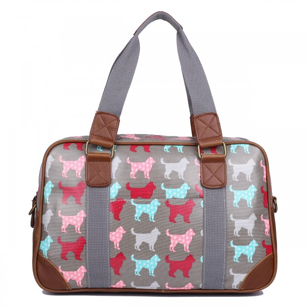L1106NDG - Miss Lulu Oilcloth Travel Bag Dog Grey