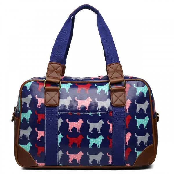 L1106NDG - Miss Lulu Oilcloth Travel Bag Dog Navy