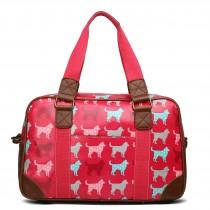 L1106NDG - Miss Lulu Oilcloth Travel Bag Dog Plum