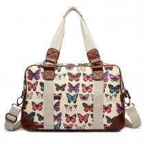 L1106B --Miss Lulu Oilcloth Travel Bag Butterfly Beige
