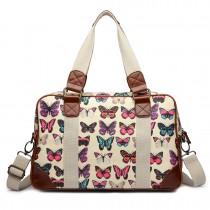 L1106B - Bolso de viaje impermeable Miss Lulu con mariposas en beige