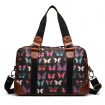 L1106B --Miss Lulu Oilcloth Travel Bag Butterfly Black