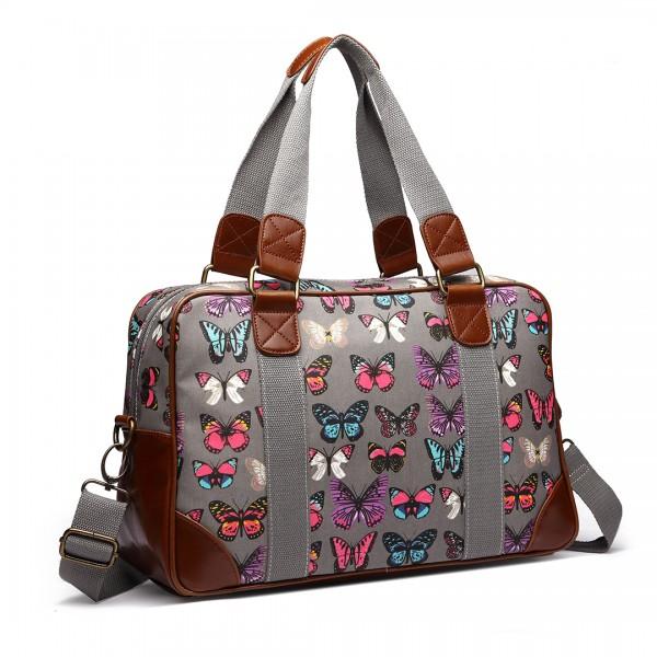 L1106B - Miss Lulu Oilcloth Travel Bag Butterfly Grey