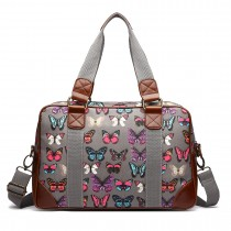 L1106B --Miss Lulu Oilcloth Travel Bag Butterfly Grey