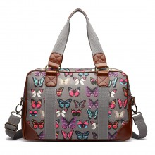 L1106B - Miss Lulu Oilcloth Travel Bag Butterfly Grey