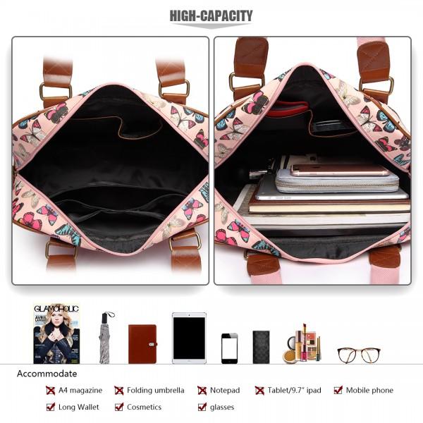 L1106B - Miss Lulu Oilcloth Travel Bag Butterfly Light Pink