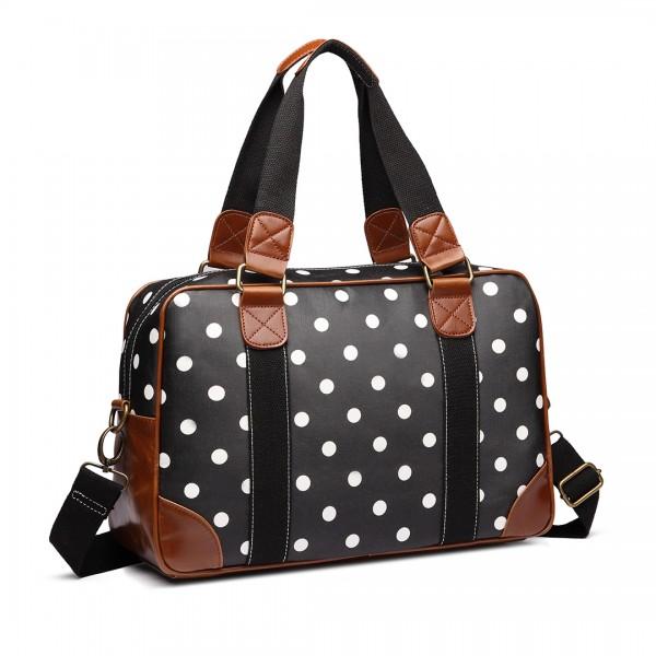 L1106D2 - Miss Lulu Oilcloth Travel Bag Polka Dot Black