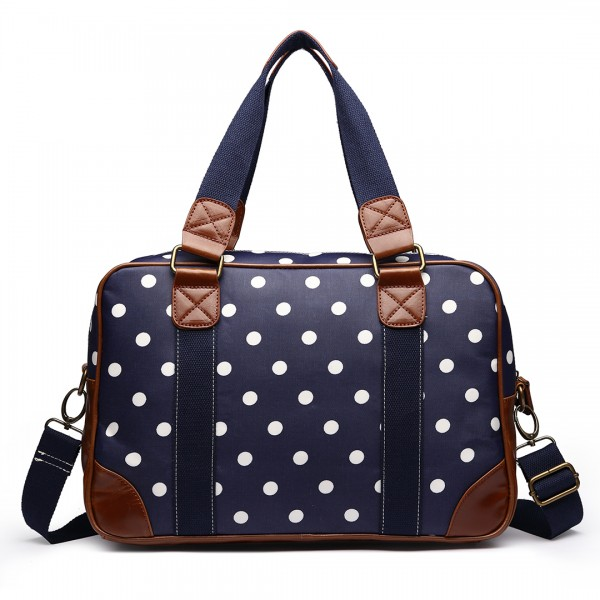 L1106D2 - Miss Lulu Oilcloth Travel Bag Polka Dot Navy